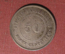 1896 STRAITS SETTLEMENTS 50 CENTS - SCARCE TYPE, VERY NICE DETAIL & CONDITION!