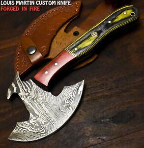 Louis Martin Custom Handmade Damascus Hard Wood Hunting Clever Chopper Axe Knife