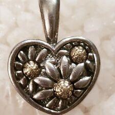 Yellow Gold Marguerite Daisy Heart Pendant New Ann King Sterling Silver & 18k