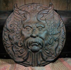 "11"" Cast Iron Green Man Cernunnos Signed Sculpture Unique Pagan Garden Celtic"