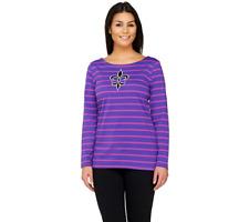 Bob Mackie's Striped Knit Top With Fleur De Lis Applique Size XS Purple Color