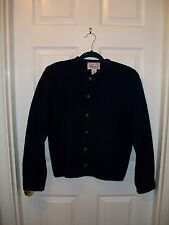 Vintage Tally-Ho Blue Navy Cardigan with decorative buttons detailed hem Wool