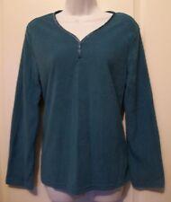Oscar de la Renta blouse top shirt size Small long sleeves blue velour