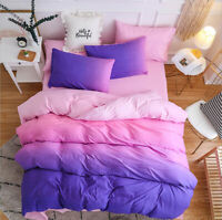 Color Gradient Bedding Set Duvet Quilt Cover+Sheet+Pillow Case Three-Piece HOT
