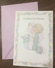 Vtg Hallmark Precious Moments wedding Day Card Sam Butcher God Bless 1997 NOS