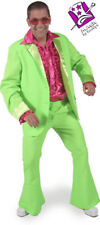 """Mens 70's Disco Fever Bright Neon Green Suit Fancy Dress Small Upto 36"""" Chest"""