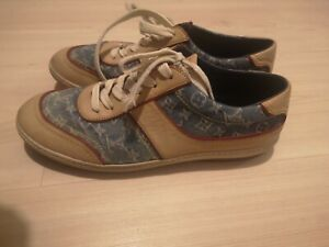 Louis Vuitton Monogram Denim and Leather Womens Sneakers Trainer US 7.5 -EU 37.5