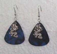 Small Dragon on Dark Blue Dangle Wire Earrings