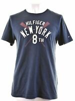 TOMMY HILFIGER Mens Graphic T-Shirt Top Large Navy Blue Cotton  FO19
