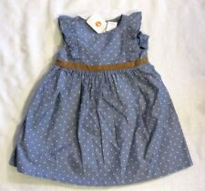 Gymboree Baby Blue White Polka Dot Country Beachy Summer Dress Set Sz 12 - 18 mo