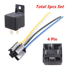 Car Auto 12V 40A SPST Premium Relay & Socket 4Pin 4P 4 Wire 5Pcs Relays 40 amp