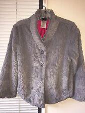 Patagonia Pelage Gray Faux Fur Plush Women's Sweater Blazer Jacket XS