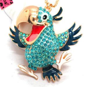 Hot Betsey Johnson Blue Enamel Cute Hornbill Bird Crystal Pendant Necklace