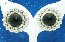 ONYX SOLITAIRE BEAD AND TWIST POST EARRINGS SOLID .925 STERLING SILVER 21.1 g