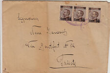 """Lloyd Austr."" ovale 15.4.1924-Busta tre 50 su 40 cent Michetti(139) x Trieste"