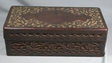 Vintage Indian Carved Hinged Wood Box