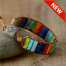 Happiness & Peace Jasper Bracelet Handmade Leather Chakra Natural Stone