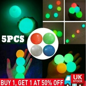 5Pcs Fluorescent Sticky Balls Glow in the Dark Ceiling Stress Relief Kids Toy