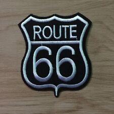 Patch Toppa strada Route 66 Nera/Bianca moto biker Giubbotti Giacche 6,5x 7,5 cm