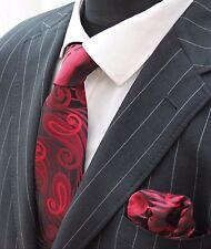 Men's Tie & Handkerchief Set Black With Red LUC331