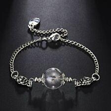 Vintage Glass Ball Dried Flower Dandelion Adjustable Bracelet Women Jewelry Gift