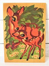 Handpainted Bambi & Bambi Mom on wood Vintage Message written on back OAK ?