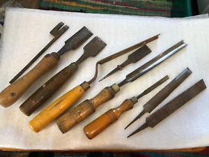 Vintage Joblot Steel Chisels Files Joiner Carpenter Woodwork Old Chippy Retro