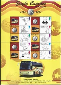 "GREAT BRITAIN - RARE 2001 EAGLE COACHES PAIR OF BUSINESS ""SMILER SHEETS"" UM(MNH)"