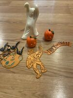 6 Vintage Halloween Cake Toppers Ghost Jack-o-Lantern Scarecrow Decorations