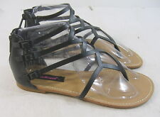new ladies Summer Black Women Shoes Sexy Flat Sandals Size 6.5