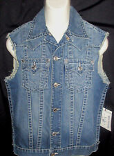 MENS TRUE RELIGION SNAP CUT OFF DENIM JEAN TRUCKER VEST SIZE M