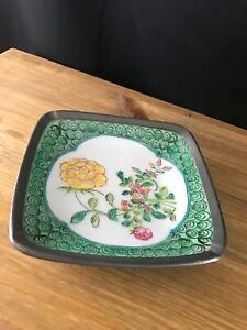 ACF Japan Japanese Porcelain Ware Ashtray Pewter Encased Trinket dish Hong Kong
