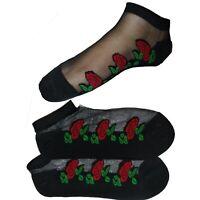 Ladies Rose Black Socks Cute Transparent Crystal Silk Lace Elastic Short Wear