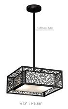 Modern Square Black LED Pendant Light for Dinning, Living and Family Room