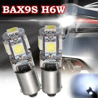 2PCS 150° BAX9S H6W 5 LED SMD LAMPADINE LUCI BIANCA CANBUS ERROR FREE PER AUTO