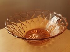 Vintage Art Deco Large Pink Pressed Glass Fruit/Salad/Dessert Serving Bowl