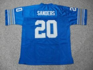 BARRY SANDERS Unsigned Custom Detroit Blue Sewn New Football Jersey Sizes S-3XL