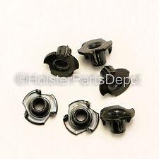 """T-nuts 1/4"""" Barrel, 3 Prong, Balck Zinc, Gun Holster Making 100 Pack FREE S&H"""