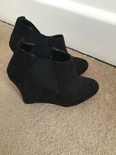 Ladies Red Herring Black Wedge Ankle Boots. Size 7