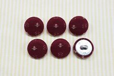 6 Embroidery Pattern Fabric Covered Buttons - Wine (20mm)