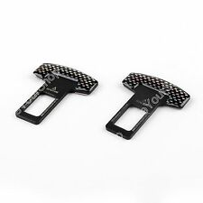 2xUniversal Carbon Fiber Car Safety Seat Belt Buckle Alarm Stopper Clip Clamp US