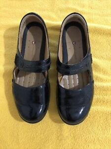 Women's CLARKS UNSTRUCTURED Mary Jane Shoes Black Shiny 8.5 Comfort Loafer
