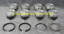 "Ford 460 Hypereutectic Flat Top Pistons+Cast Rings Kit +040"" Silvolite"