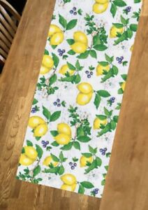 """Farmhouse, Lemon, Blueberries, Table Runner, Decoration, 42"""" Long  X 14"""" Wide"""