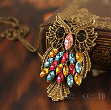 Retro Vintage Colorful Rhinestone Bronze Owl Pendant Necklace Long Chain FR*