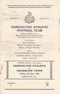 Carshalton Athletic v Hounslow Town 4 May 1962 Athenian League