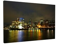 SYDNEY PORT NIGHT CITY CANVAS PICTURE PRINT WALL ART CHUNKY FRAME LARGE 1874-2