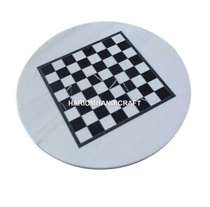 Handicraft Mable White Coffee End Chess Table Top Inlay Work Outdoor Decor H4900