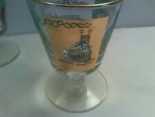 Set o 4 Vtg SC Steamboat Footed Cocktail Barware Glasses  Turq Gold
