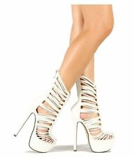 Gold Nude White Mid-calf Boots Strappy Platform Pump Women's Stiletto Heels